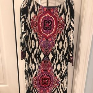 Boston Proper Black & Pink medallion dress size 14